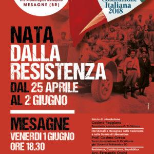 NATA DALLA RESISTENZA: dal 25 aprile al 2 giugno  2018: 70^ anniversario della Costituzione della Repubblica Italiana