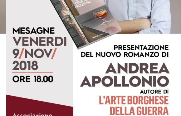 ASSOCIAZIONE DI VITTORIO MESAGNE: ANDREA APOLLONIO PRESENTA IL SUO NUOVO ROMANZO-NOIR