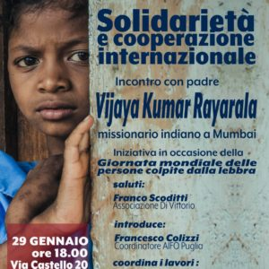 -Comunicato Stampa- Incontro con il missionario indiano Vijay Kumar Rayarala in occasione della giornata Mondiale delle persone colpite dalla lebbra.