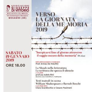 VERSO LA GIORNATA DELLA MEMORIA 2019.