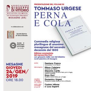 """PRESENTAZIONE DEL VOLUME DI TOMMASO URGESE """"PERNA e COLA"""""""