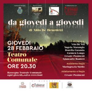 """La commedia brillante """"Da Giovedì a Giovedì"""" di Aldo De Benedetti.  Giovedì 28 Febbraio Teatro Comunale – Mesagne"""
