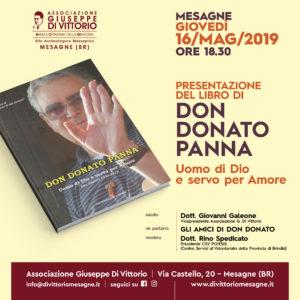 """GiovedìÌ 16 Maggio, presentazione del libro """"Uomo di Dio e servo per Amore"""", di Don DONATO PANNA."""