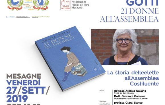 XV FESTA DEI LETTORI 23-29 settembre 2019 Venerdì 27 Settembre ore 18,30  Salone Associazione Di Vittorio – Mesagne.