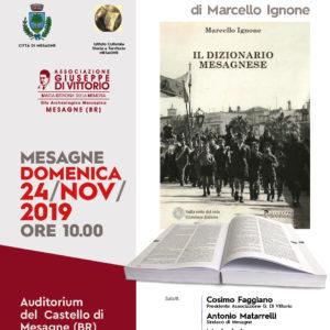Presentazione del DIZIONARIO MESAGNESE, di Marcello Ignone. (Auditorium del castello di Mesagne)..