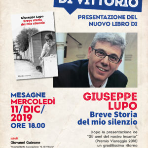 BREVE STORIA DEL MIO SILENZIO un romanzo di Giuseppe Lupo – Mesagne 11 dic 2019.