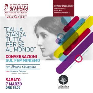 """DALLA STANZA TUTTA PER SE' AL MONDO – Conversazioni sul femminismo Con Simona Cleopazzo di """"Collettiva"""""""