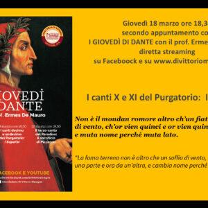 I canti decimo e undicesimo del Purgatorio:  I SUPERBI. Commenterà,in diretta streaming, il Prof. Ermes De Mauro